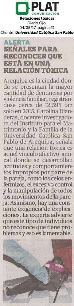 Universidad Católica San Pablo: Relaciones Tóxicas en el diario Ojo de Perú (04/08/2017)