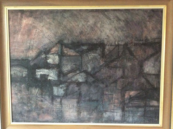 'Canal and Houses' - Original mixed media by Arthur Berry
