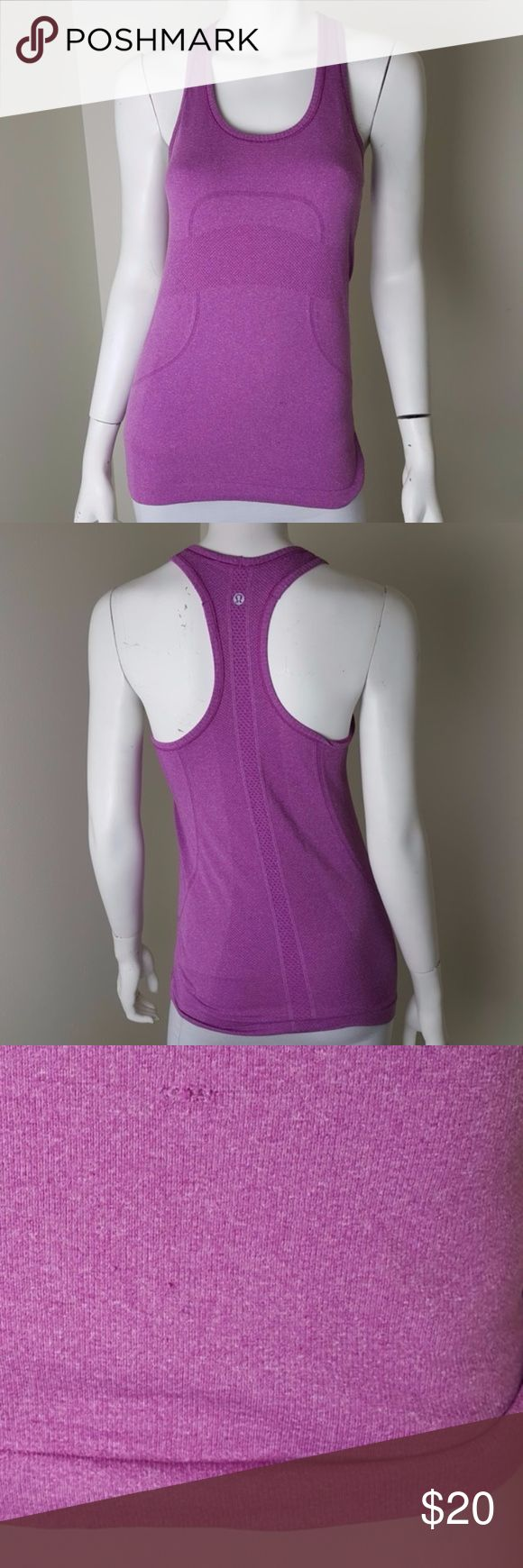 Lululemon Purple Tech Tank Top 6 Pretty purple color. It does have a run with several small snags (holes when stretched) along the run. Please see pictures before purchasing. Women's size 6.  #2023 lululemon athletica Tops Tank Tops