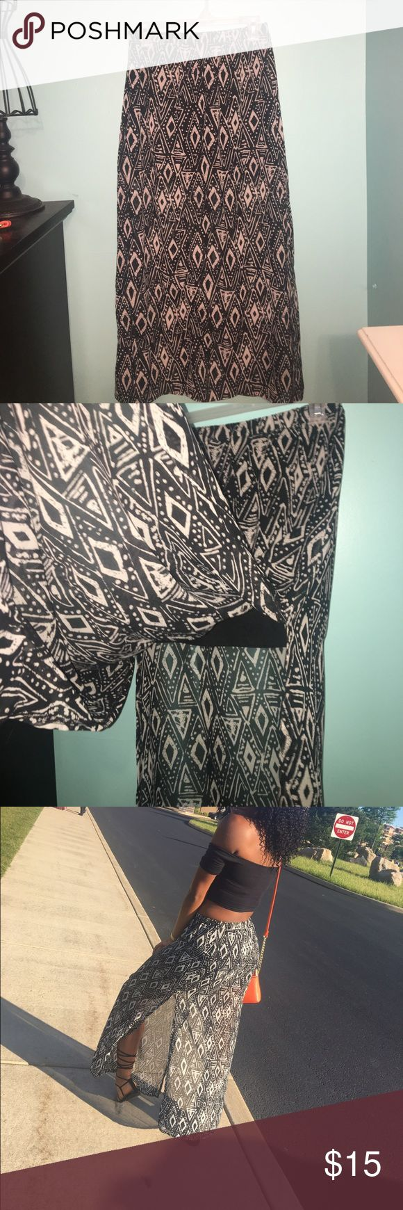 Tribal Maxi skirt Black and grey maxi skirt. Has two slits on the side and a black mini slip underneath. Very cute skirt Forever 21 Skirts Maxi