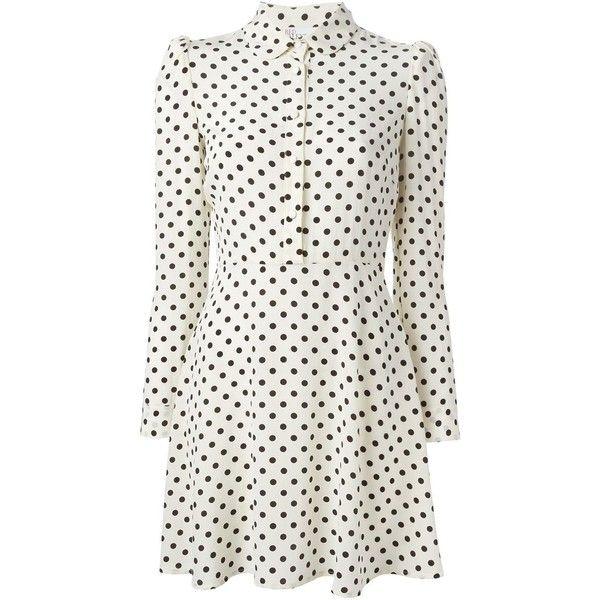 Red Valentino Polka Dot Shirt Dress ($399) ❤ liked on Polyvore featuring dresses, short dresses, long shirt dress, short silk dress, mini dress, shirt-dress and white polka dot dress