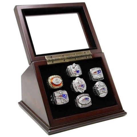 NFL 1985 2001 2003 2004 2007 2011 2014 New England Patriots Super Bowl Championship Replica Fan Rings with Wooden Display Case, Tom Brady