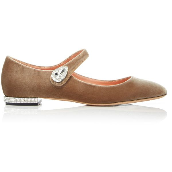 Rochas Velvet Mary Jane Ballet Flat With Crystal Tear Drop (45.180 RUB) ❤ liked on Polyvore featuring shoes, flats, neutral, ballet shoes, ballerina flat shoes, jeweled flats, mary jane flat shoes and ballet pumps