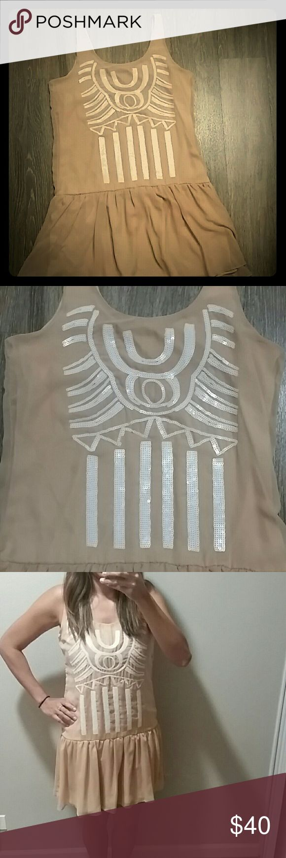 Short and Flowy, Nude Tribal Print Dress New, Nude Dress (or can be work as tunic with leggins) w/white sequence tribal print design. Perfect to dress down with a biker jacket or dress up with heels. Bar III Dresses Mini
