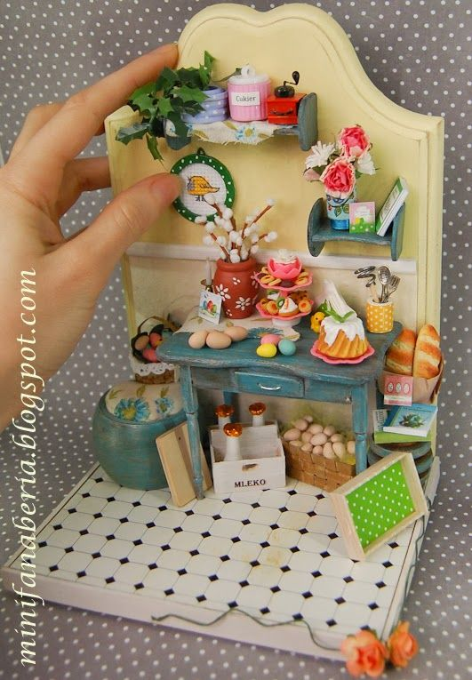 Handmade Bookend with miniature Easter accessories and decorations in one inch scale (1:12)
