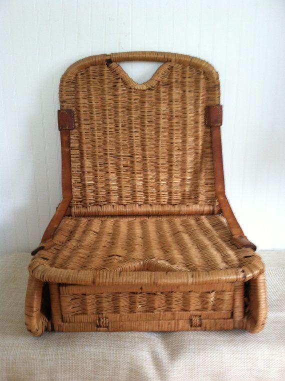 Canoe Seat Vintage Wicker Portable Folds Up Storage