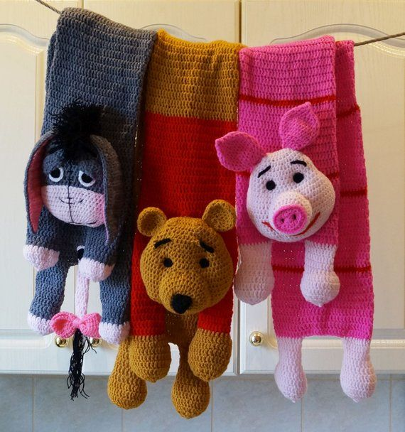 Winnie-the-Pooh, Eeyore, Piglet Scarf Patterns, Crochet Scarf Pattern, Animal scarfs, Old Vintage Cartoons, Piglet Winnie Eeyore Toy
