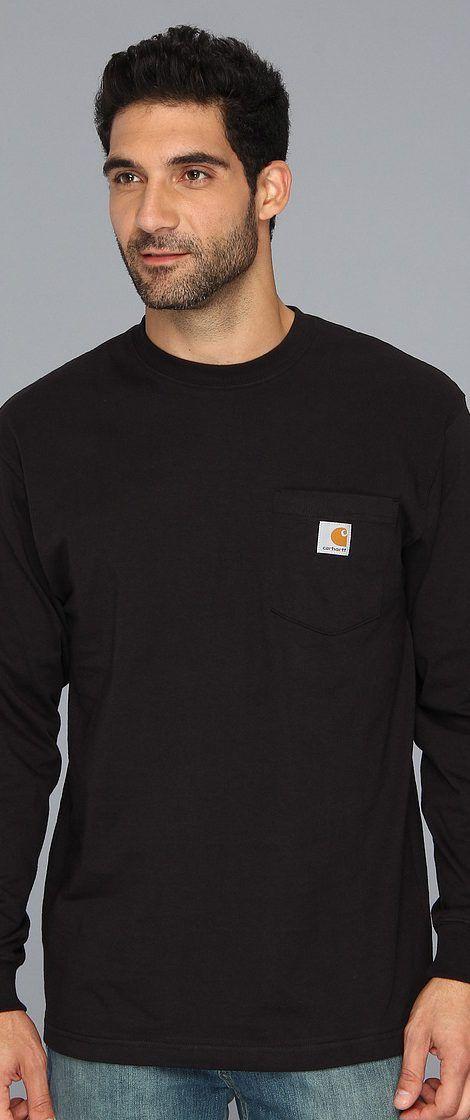 Carhartt Workwear Pocket L/S Tee (Black) Men's Long Sleeve Pullover - Carhartt, Workwear Pocket L/S Tee, K126-001, Apparel Top Long Sleeve Pullover, Long Sleeve Pullover, Top, Apparel, Clothes Clothing, Gift - Outfit Ideas And Street Style 2017