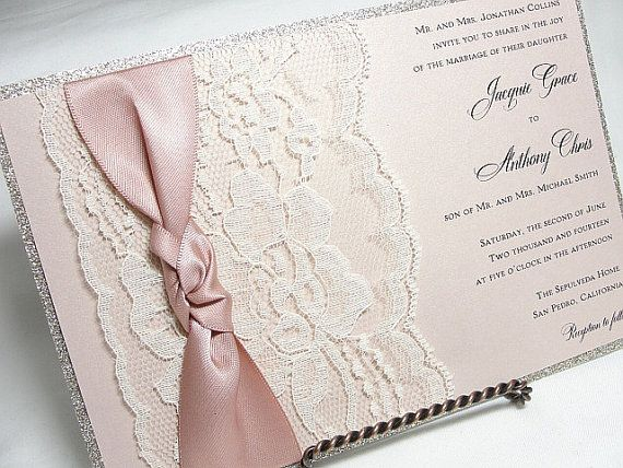 Glitter and Lace Wedding Invitations by LavenderPaperie  --Would actually be pretty easy to do... Craftin it up in here!!  Except no pink. Blue?  ;)