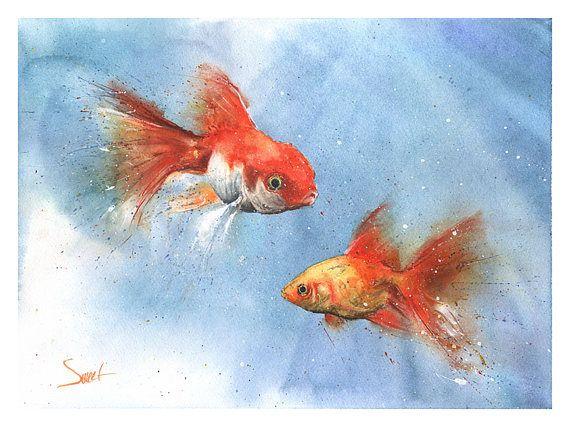 Goldfish Watercolor Painting Watercolor Goldfish Art Goldfish