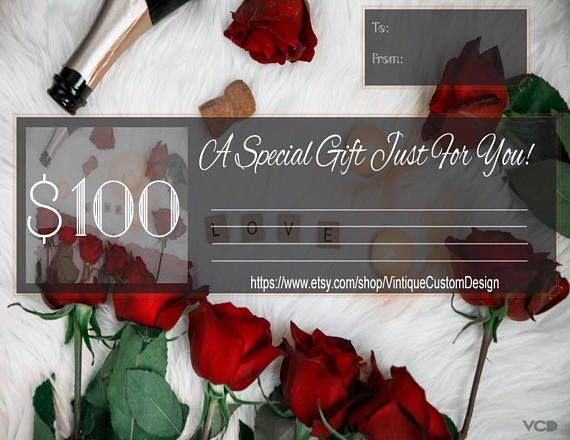 VALENTINES DAY GIFT  Gift Voucher Instant Download  Gift
