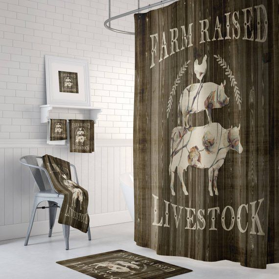 Shower Curtain Farmhouse Cow Chicken Pig Faux Wood Bath Mat