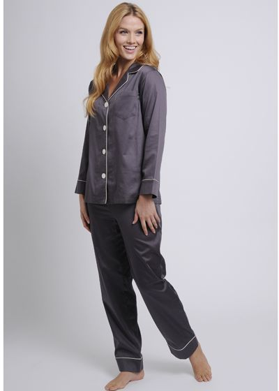Women's Egyptian Cotton Pajamas- Titanium $178 #cottonpajamas #olist #madeintheusa #bestpajamas #luxurypajamas #pajamas #womenspajamas #egyptiancottonpajamas