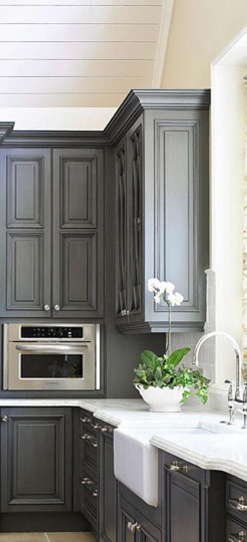 Kitchen with bluegray cabinets kitchendesignideasgallery kitchen