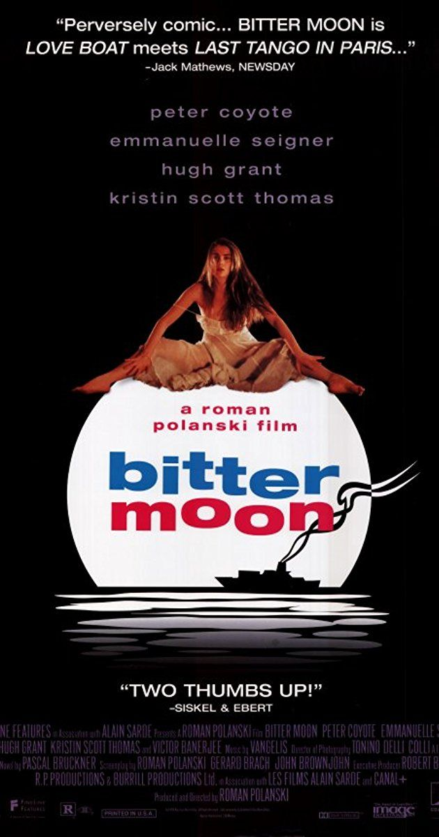 Directed by Roman Polanski. With Hugh Grant, Kristin Scott Thomas, Emmanuelle Seigner, Peter Coyote. After hearing stories of her, a passenger on a cruise ship develops an irresistible infatuation with an eccentric paraplegic's wife.