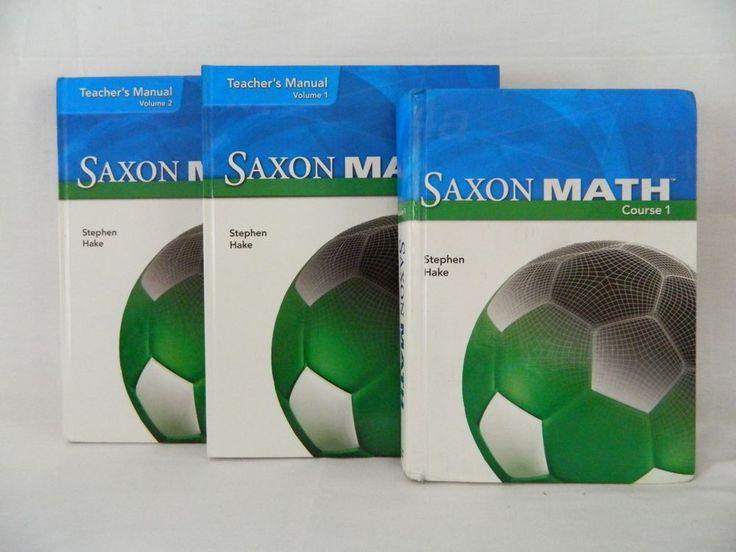 Saxon Math Course 1 Teacher Vol 1 & 2 w. student, HB  Homeschool or School  #Textbook