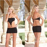 İki demir halkalı seksi elbise.  Göbek kısmında iki adet birleştirilmiş halkası bulunan seksi elbise arkadan bağlamalı olup straplaes bir üründür.  Mini seksi elbiseler vücut hatlarınızı belli eden kumaştan üretilmiştir. http://www.aglayancicek.com/kategori/seksi-elbiseler.aspx