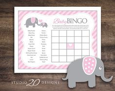 Instant Download, Pink Elephant Baby Shower Bingo Cards for Girl, Printable Baby Shower Game Sheets, Pink Grey Downloadable BINGO Card #22B