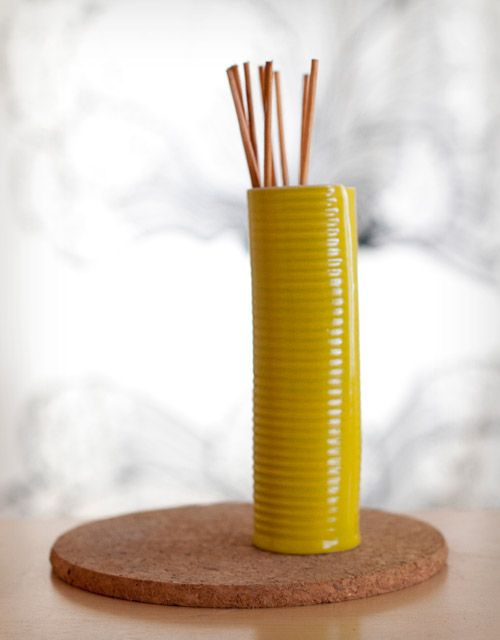 How To Make Homemade Reed Diffusers.What You Need  Materials: 1] Glass or ceramic container (glazed inside, so it doesn't leak) with a narrow opening at the top.  2] Essential oils of your choice. I have lavender and eucalyptus.  Sweet almond oil or safflower oil are other options.vodka and water-it won't leave a greasy mess if it does get knocked over. 3] Reeds or bamboo skewers.