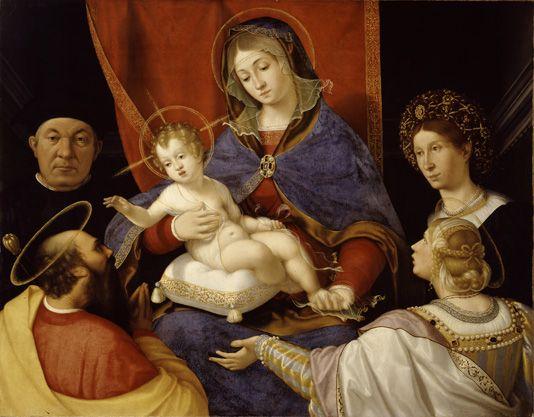 Andrea Previtali (ca.1470–1528 Bergamo)   Madonna and Child with Saints Paul and Agnes and the Donors Paolo and Agnese Cassotti, oil on canvas. Bergamo, Accademia Carrara, no.110.
