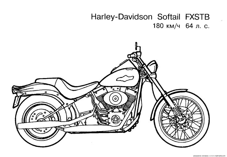 Harley-Davidson Coloring Pages to Print | Free Motorcycle coloring page…