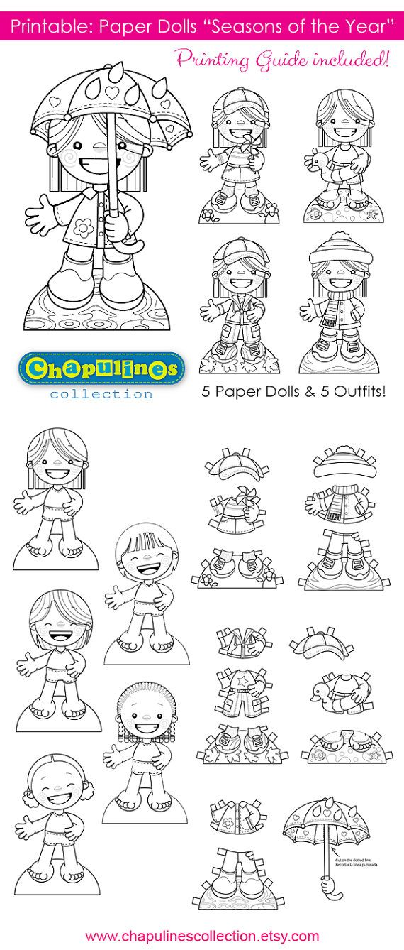 Paper Dolls - Printable - Seasons of the Year - Girls - B/W - Coloring Pages - Set 019