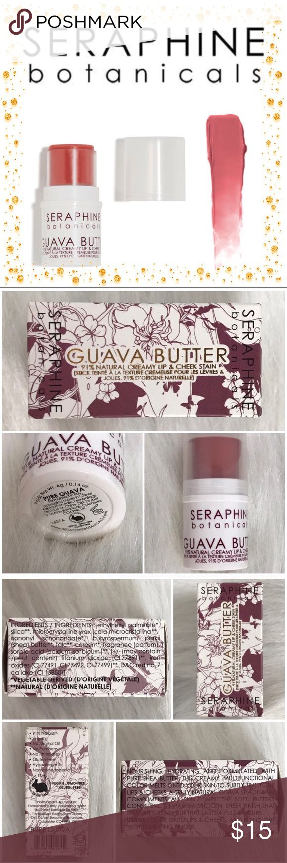 🆕NIB•Guava Butter Creamy Lip/Cheek Stain Nourishing, hydrating and formulated with Pure Shea Butter, this creamy, multifunctional color melts onto your skin to subtly tint your lips & cheeks a truly natural guava shade that compliments all skin tones. The soft, buttery consistency imparts a smooth, sheer finish that is never greasy but that lasts a full 8 hours.  Usage: Glide onto lips & cheeks, and blend out with your ring finger.  91% Natural  Vegan No Mineral Oil No Parabens No…