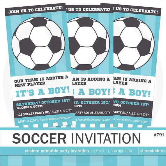 Soccer baby shower invitation Soccer invitation. by eltendedero                                                                                                                                                     More