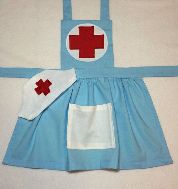 Girl's Nurse Costume child nurse dress up nurse apron. Perfect for pretend play. Add nurse hat and felt bandaids if desired.
