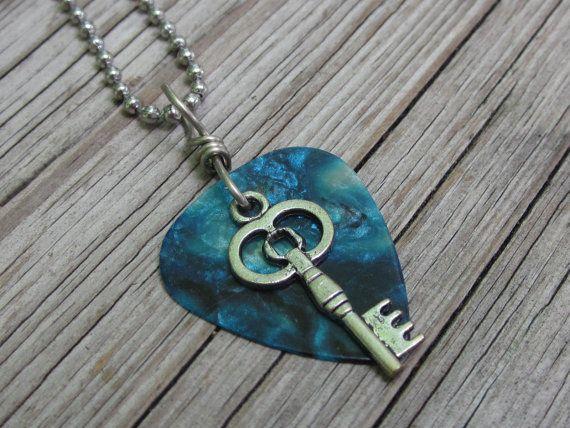Blue skeleton key guitar pick pendant necklace by RockKandyJewelry, $10.00