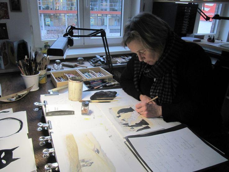 尤塔‧鮑爾(Jutta Bauer)喜歡在這間德國漢堡的工作室創作