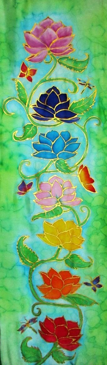 Painting of Colorful Indian-Chakras Using the Sacred Lotus Flowers