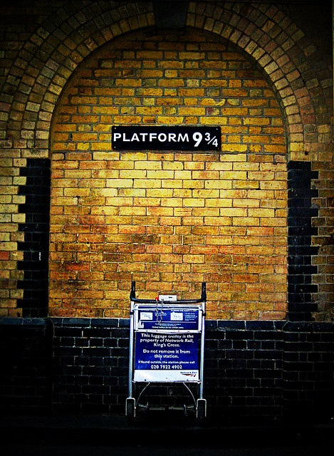 Platform 9 3/4. a sign was added at King's Cross station in London so that wizards would no longer get lost. must see it one day