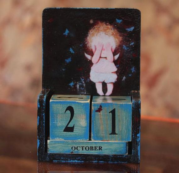"""Hand Made Painted Decoupaged Wooden Perpetual Calendar """"hide-and-seek"""""""