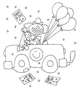 Free Dearie Dolls Digi Stamps Happy Birthday Clown Car Color And B W