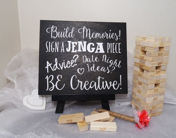 Sign A Jenga Piece Wedding Guest Book Sign by CraftyWitchesDecor