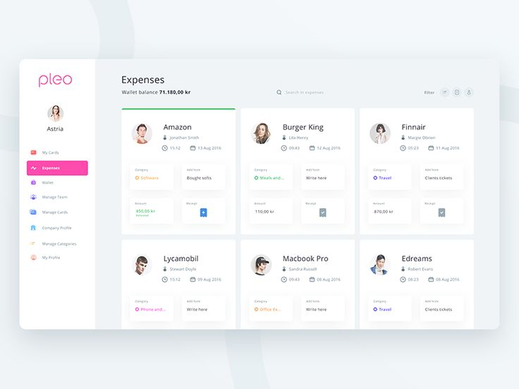 Pleo Expense page (Redesign exploration) by Prakhar Neel Sharma #Design Popular #Dribbble #shots