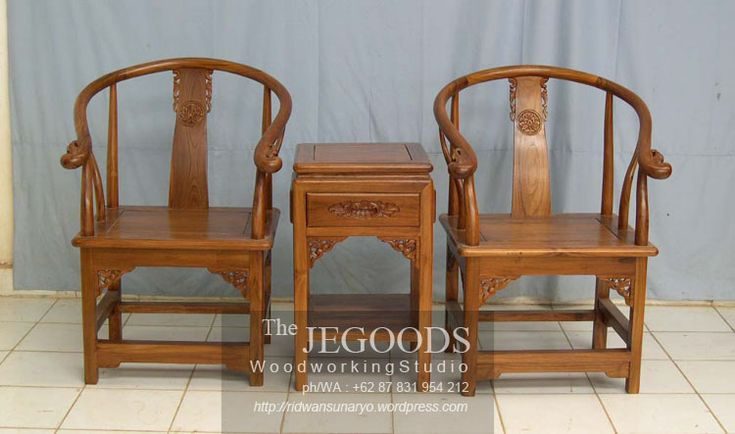 Indonesian carving terrace chair. Solid teak finished with natural brown color. Beautifully hand carved by Jepara craftsmen.  Set Kursi Teras Ukir Jati Jepara.   Kursi Teras Taichi Oriental.