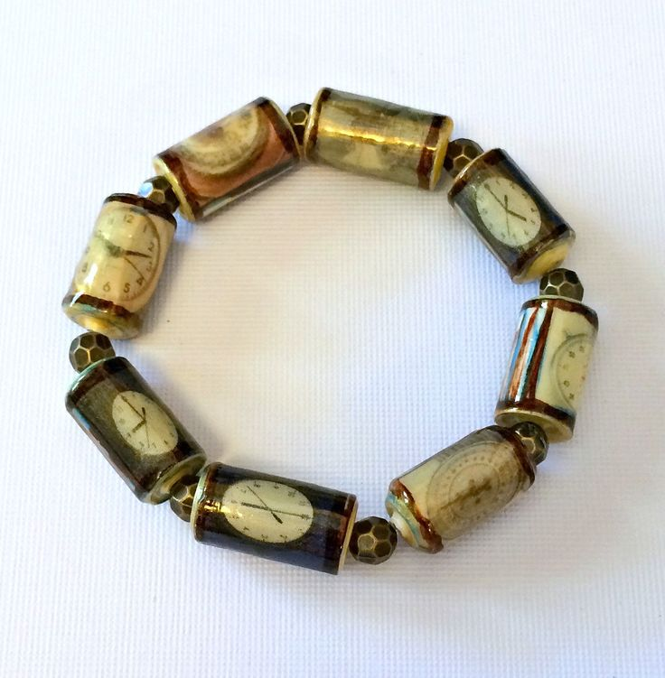 Clock Bracelet Paper Beads Scale Timepiece Jewelry Mixed Media  Bracelet First Anniversary Unique Handmade Barrel Tube Beads Unisex Recycle - pinned by pin4etsy.com