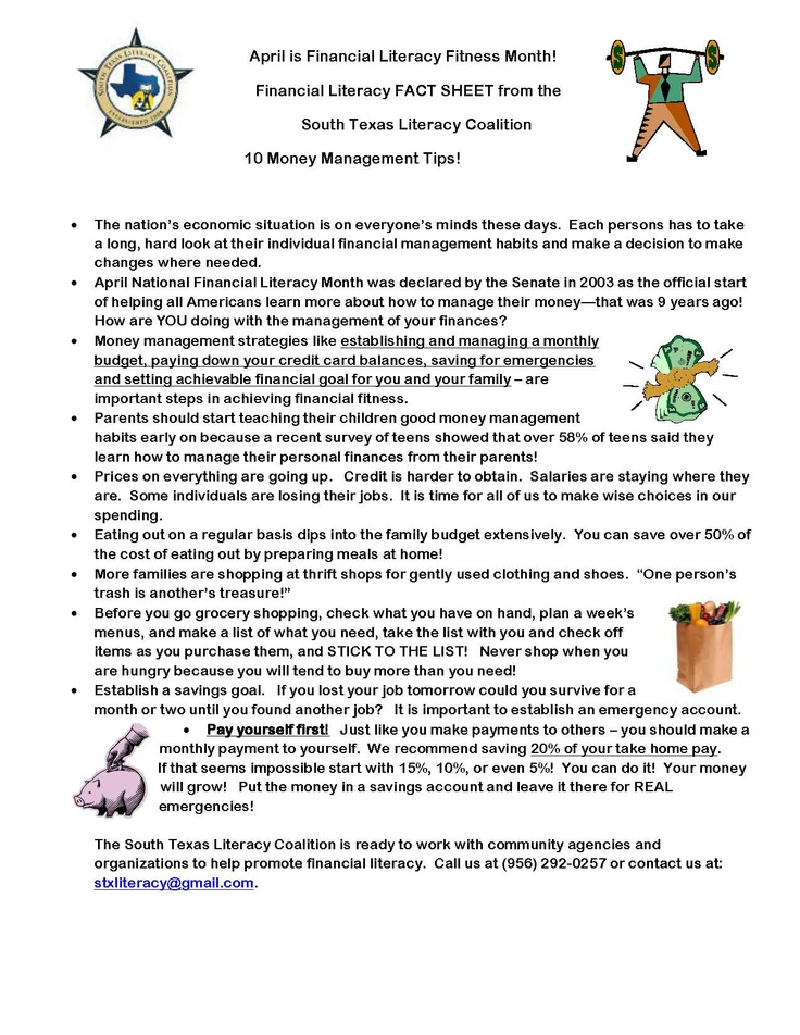 best financial literacy images financial  financial literacy fact sheet from the south texas literacy coalition 10 money management tips