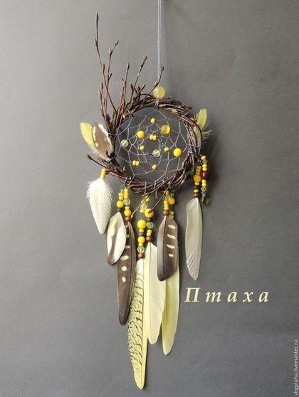 """Ловцы снов ручной работы. Ярмарка Мастеров - ручная работа. Купить Ловец снов """"Желтая птица"""". Handmade. Лимонный, ловец"""