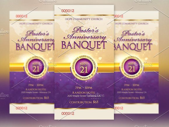 Clergy Anniversary Banquet Ticket by Godserv Graphics on @creativemarket