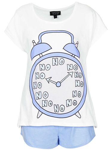Snooze Button Set - No No No Pyjama Tee and Shorts at topshop.com