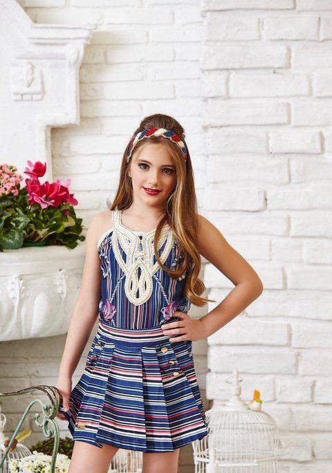 Crop Top and Skirt Sets - Girl   Anjo D'agua Moda Infantil 6326