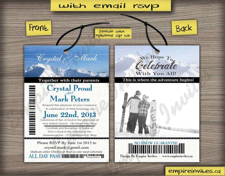 Custom Online ski pass / lift ticket wedding invitations, from Winnipeg, Canada ships to Toronto, Halifax, Calgary, Vancouver, Edmonton, Ottawa.