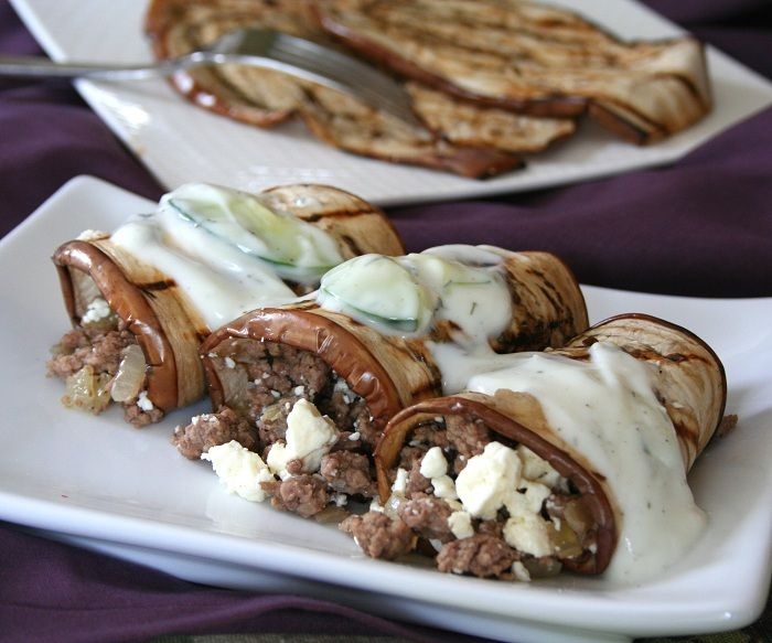 Grilled Eggplant Lamb Rolls with Tzatziki - low carb - Use  FAGE Total Classic, Unflavored/Unsweetened Greek Yogurt for the least amount of carbs