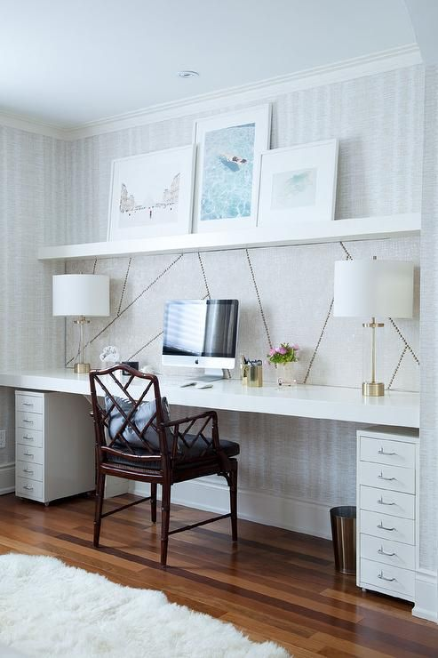 chic home office features a wall clad in thibaut ikat wallpaper lined with a wall to - Home Office Desk Design