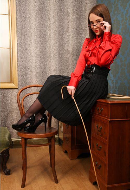 Red Satin Blouse Mistress-6773