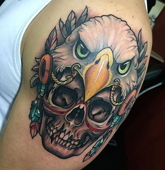 Estor skull tattoo #eagle #eagletattoo #skull #skulltattoo  #native…