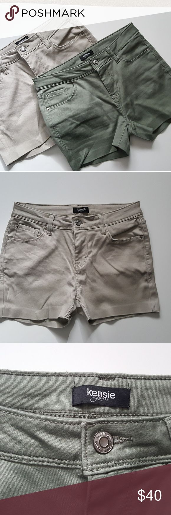BUNDLE Kensie Jeans Shorts Beige Olive Green Please note that these were both originally pants, and I cut them and used hemming tape to hem the shorts (as shown in pics).   In excellent condition!   One price for both shorts!  Size is 4/27 Kensie Shorts